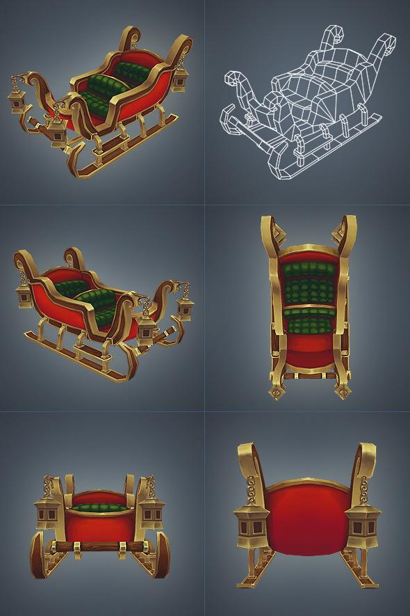 3DOcean Santas Sleigh Low Poly 3572664