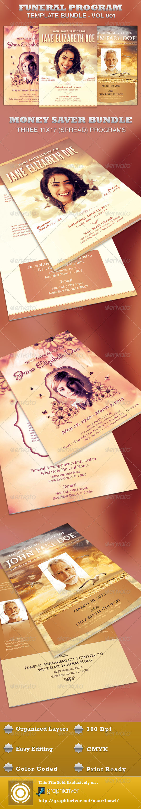 Funeral Program Template Bundle-Vol 001 - Informational Brochures