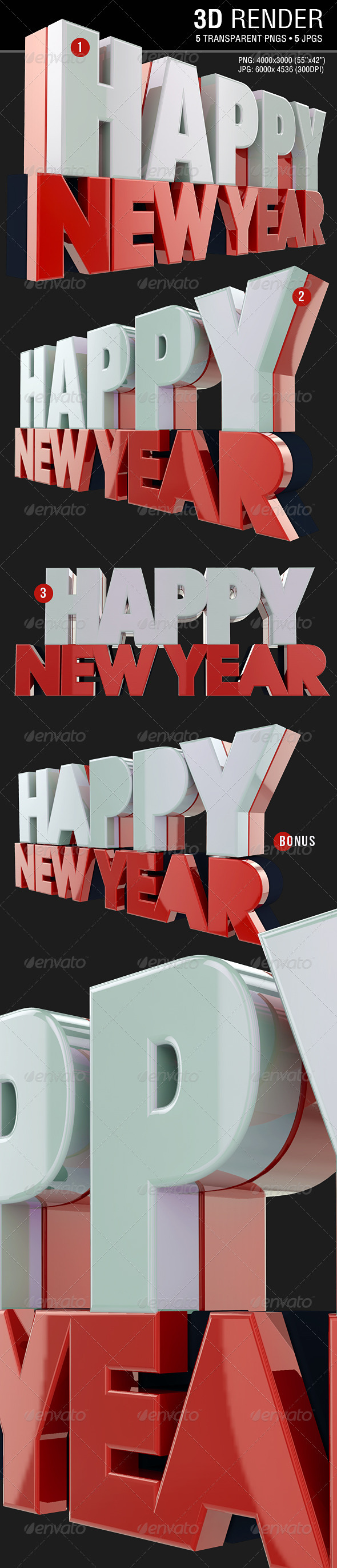 GraphicRiver Happy New Year 3D Render 3574038