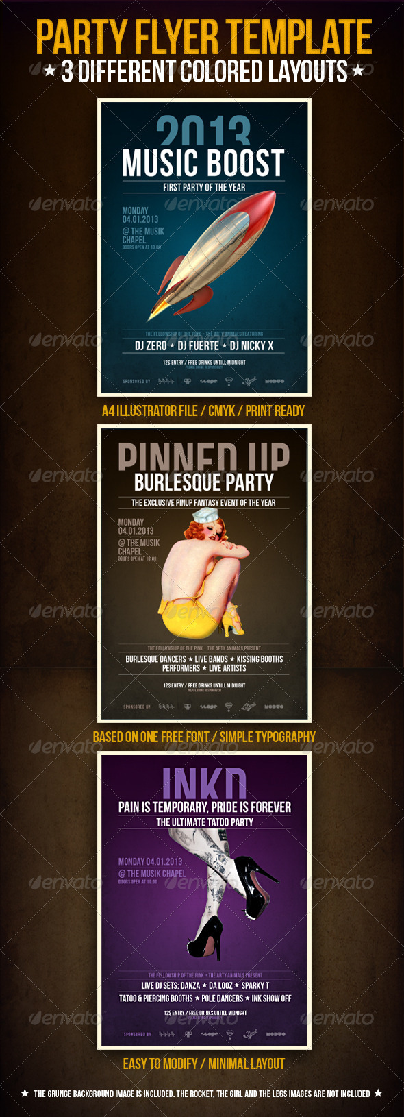 GraphicRiver Music Boost Party Flyer Template 3575298