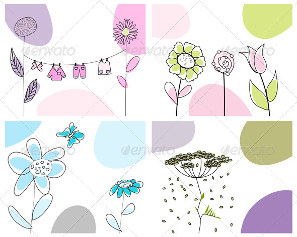 GraphicRiver Sketched Greeting Card Set 3551408