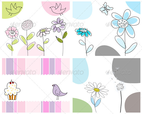 GraphicRiver Sketched Greeting Card Set 3551424