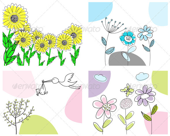 GraphicRiver Sketched Greeting Card Set 3551461