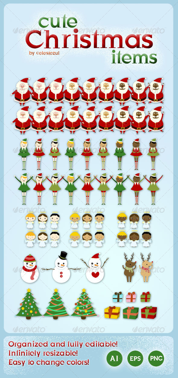 GraphicRiver Cute Christmas Items 3576463