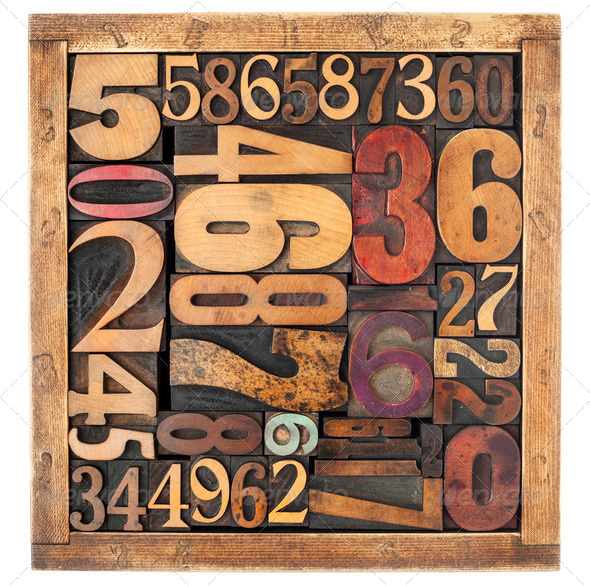 number abstract in wood type - Stock Photo - Images