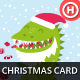 Illustrated Christmas Card with Godzilla - GraphicRiver Item for Sale