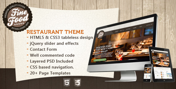 ThemeForest Fine Food Restaurant HTML5 Theme 3568317