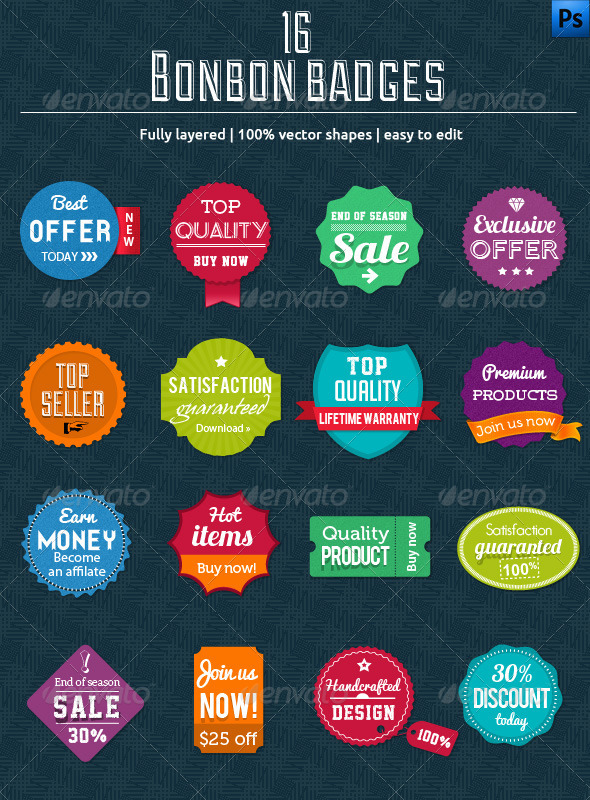GraphicRiver 16 Bonbon Badges 3578539
