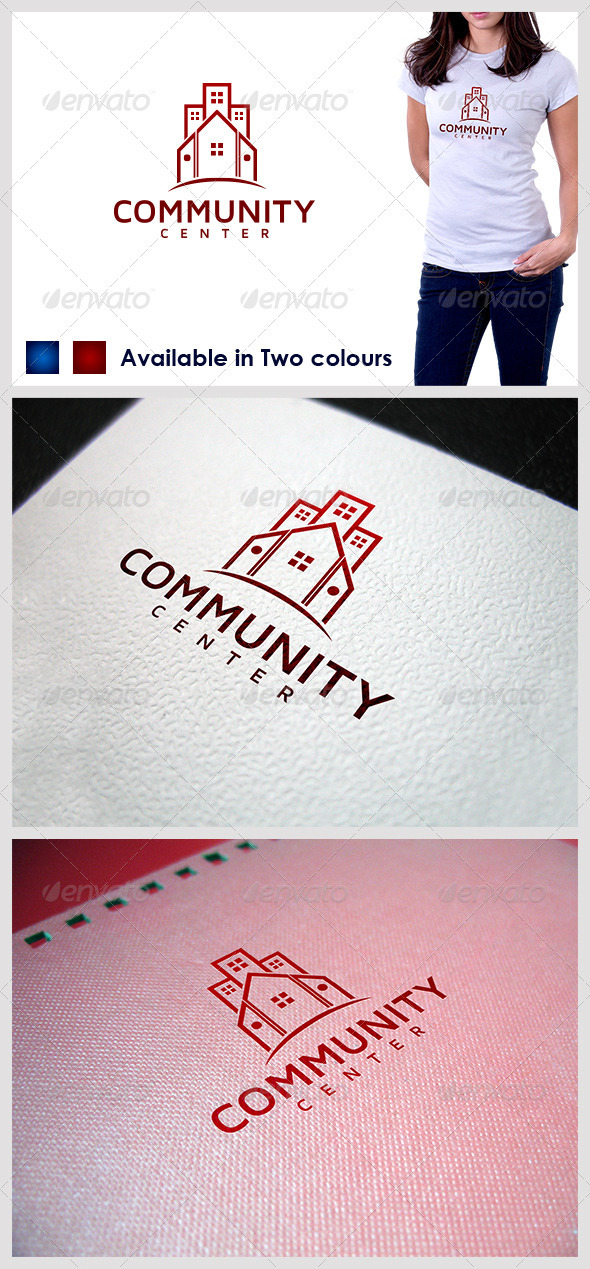 Community Center Building - Buildings Logo Templates