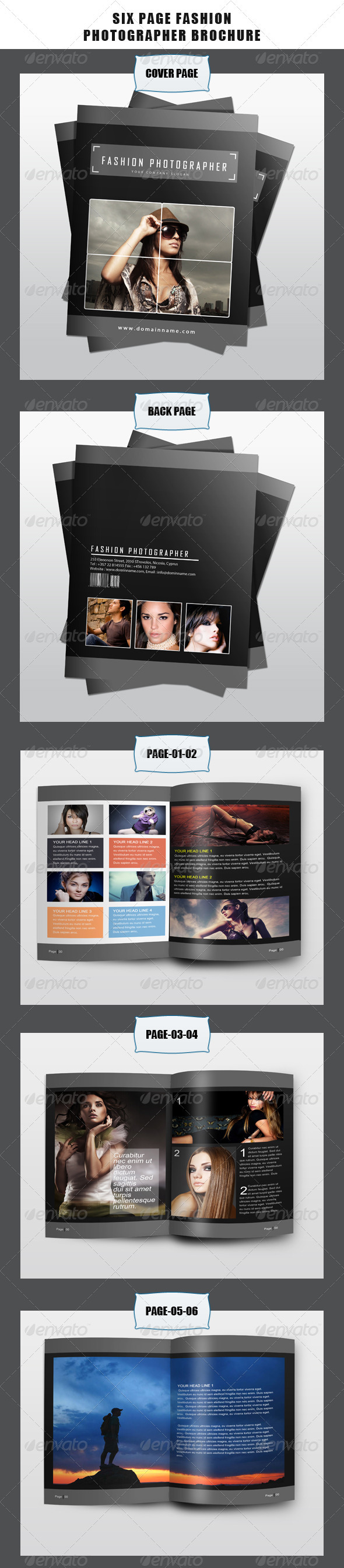 GraphicRiver Six Page Fashion Photographer Brochure 3579758
