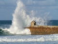 Portreath pier big white water sea wave splash, Cornwall UK. - PhotoDune Item for Sale