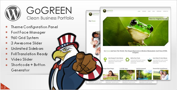 ThemeForest Go Green Modern Business Portfolio WP Theme 757676
