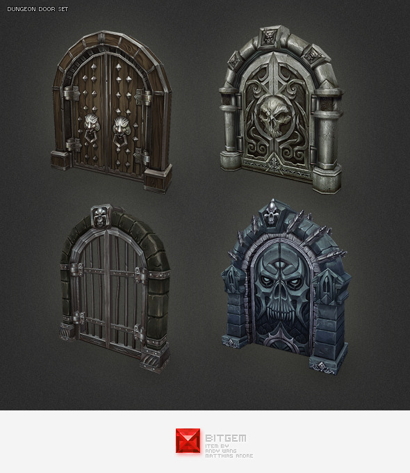 Low Poly Dungeon Door Set - 3DOcean Item for Sale