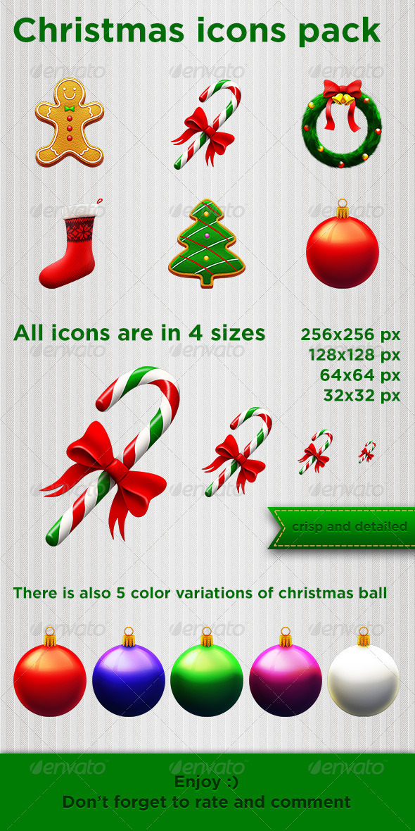 GraphicRiver Christmas icons pack 3581712