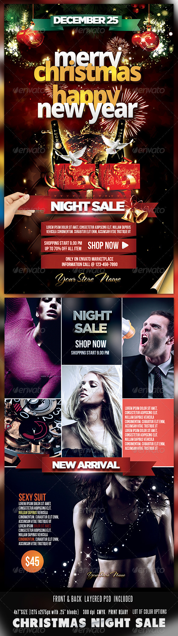 GraphicRiver Christmas Sale Night Flyer-Front & Back 3581923
