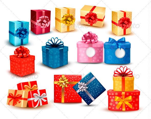 GraphicRiver Set of Colorful Gift Boxes with Bows and Ribbons 3582464