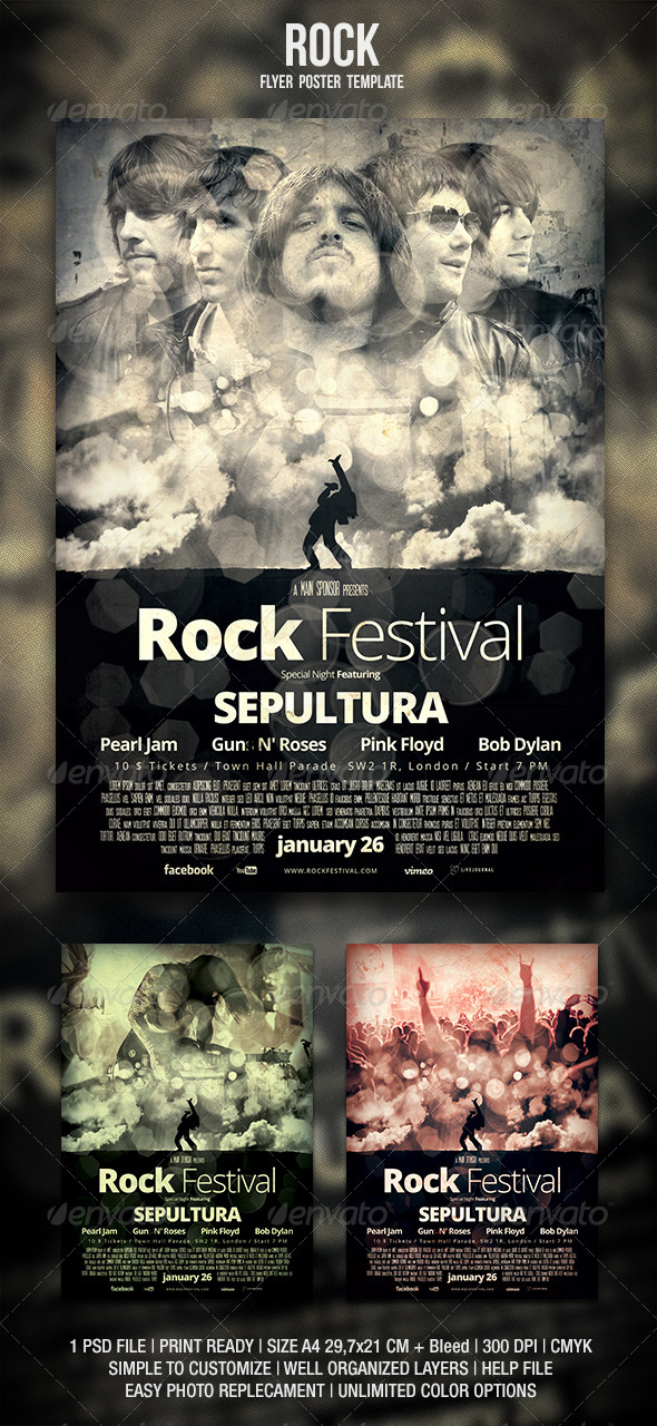 Rock Flyer / Poster 3 - Concerts Events