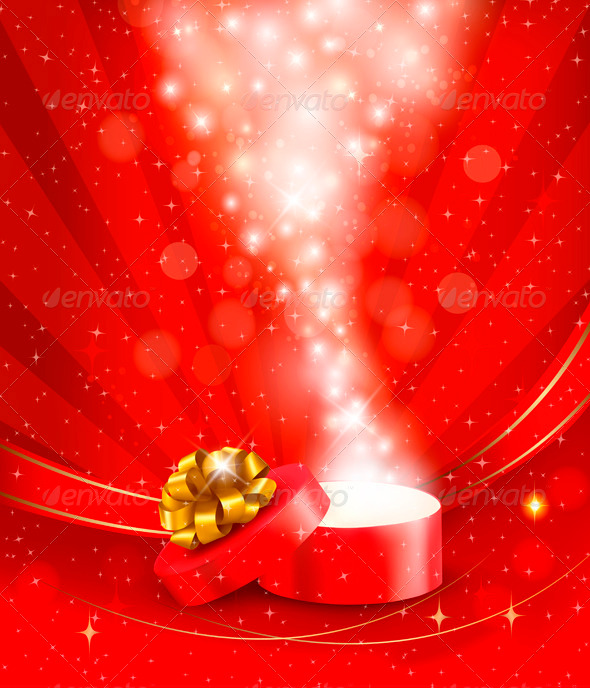 GraphicRiver Christmas Background with Open Magic Box 3583093