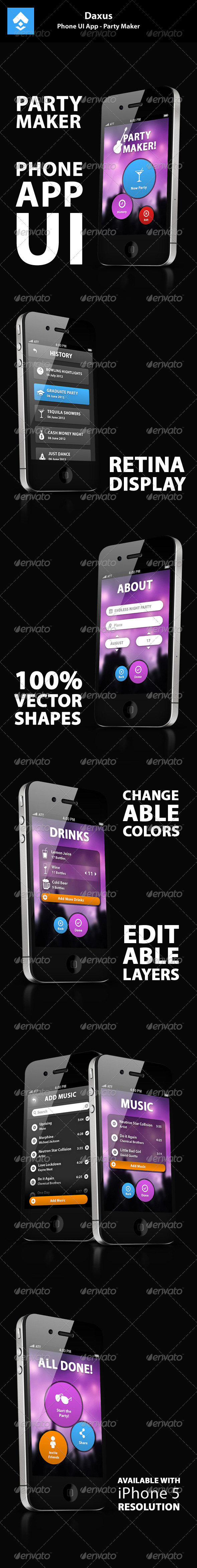 GraphicRiver Phone UI App Party Maker 3497795