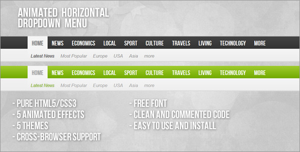 CodeCanyon Animated Horizontal Dropdown Menu 3584222