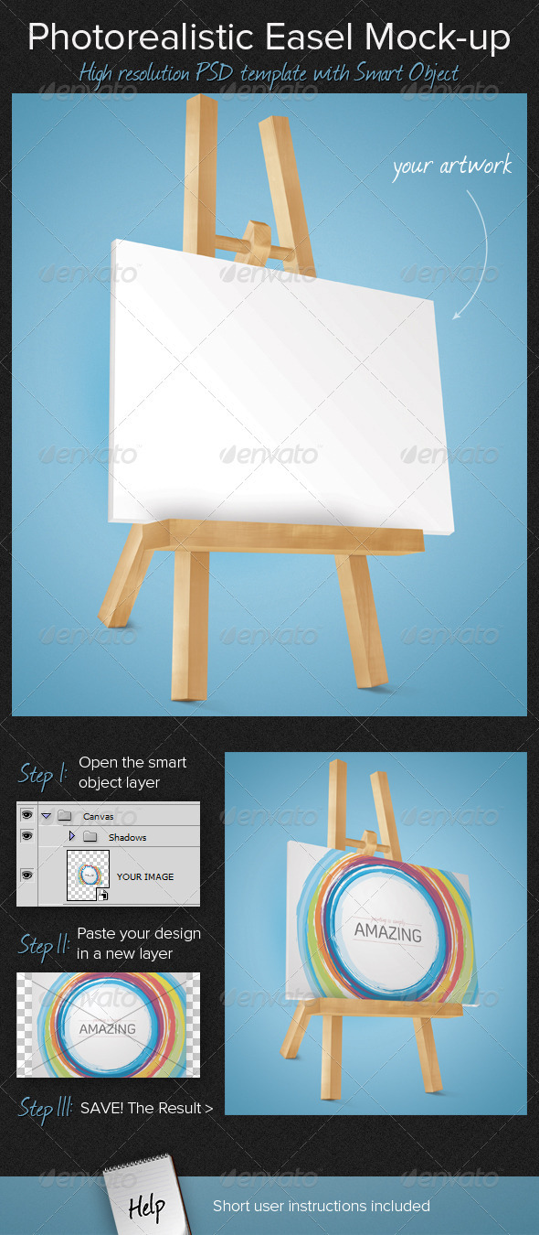 Photorealistic Easel Mock-Up - Miscellaneous Displays