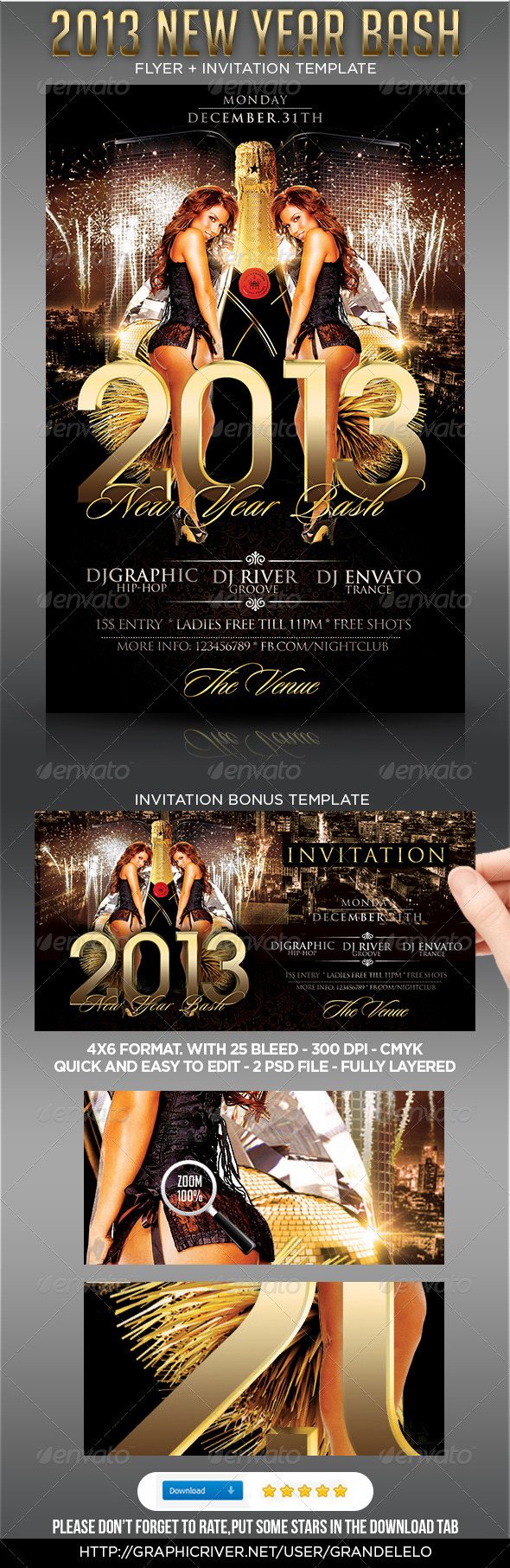 2013 New Year Party Flyer Template - Clubs & Parties Events