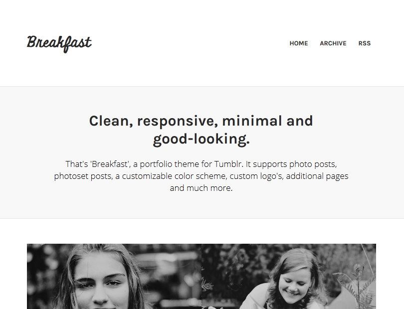 Breakfast - A Responsive Tumblr Portfolio Theme