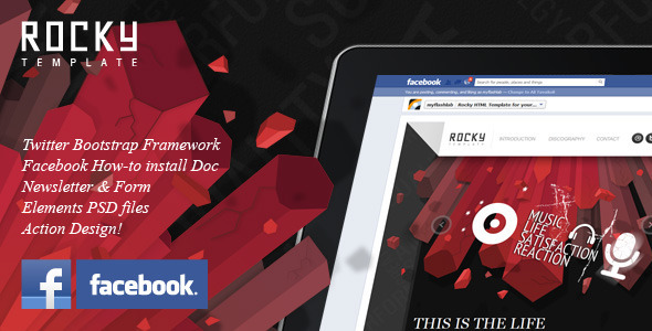Rocky Facebook Fan Page Template - Entertainment Site Templates