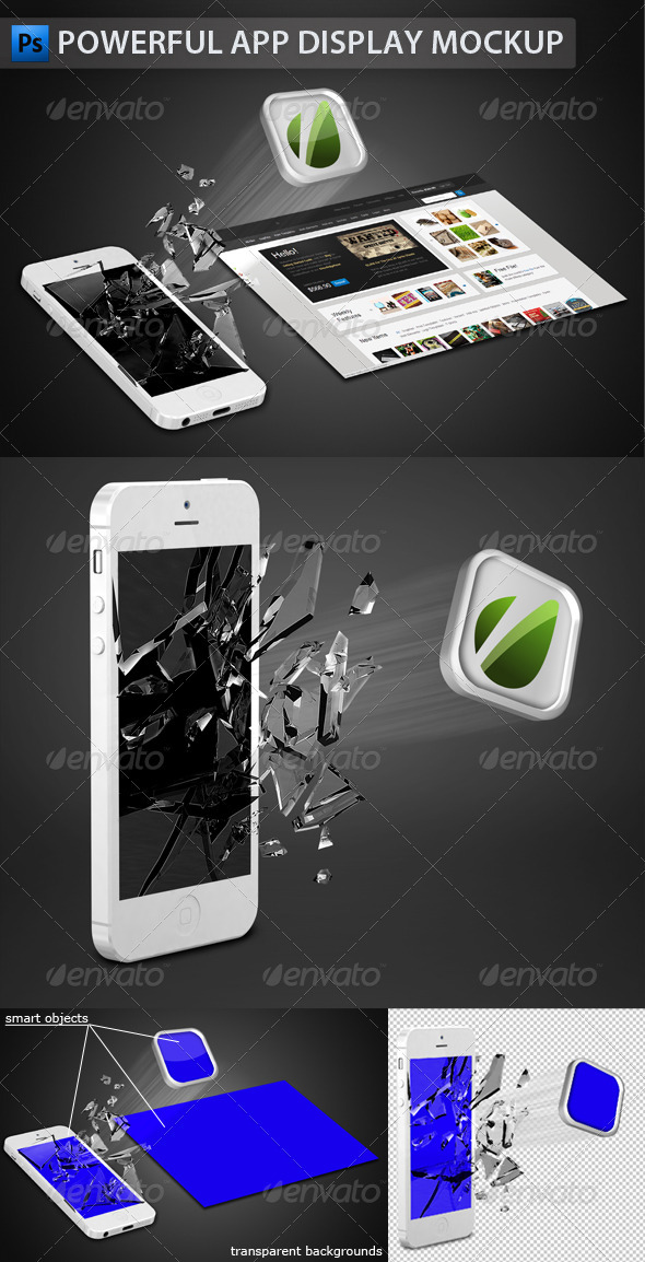 GraphicRiver White Phone App Display Mockup 3590409