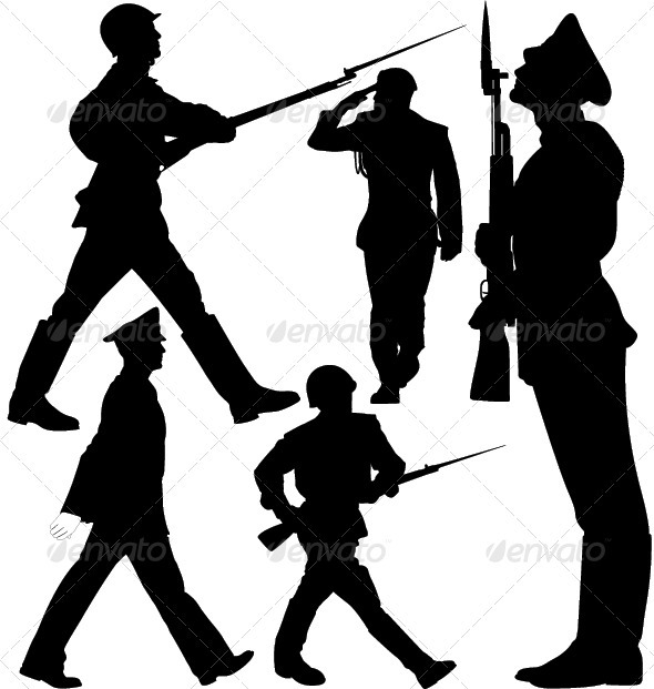 GraphicRiver Parade Soldiers Marching Sentry Guard Silhouette 3590874