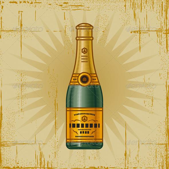 GraphicRiver Retro Champagne Bottle 3591599