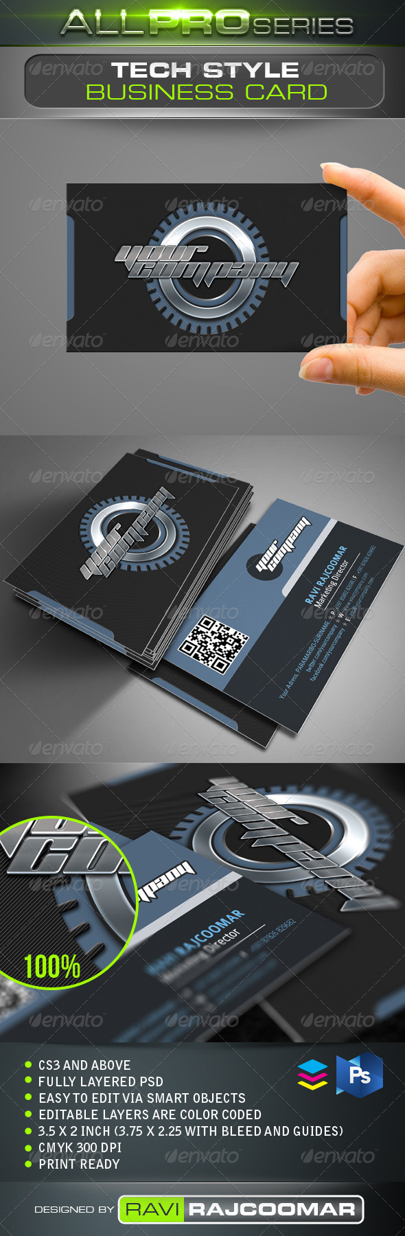 GraphicRiver Tech Style Business Card 3591632