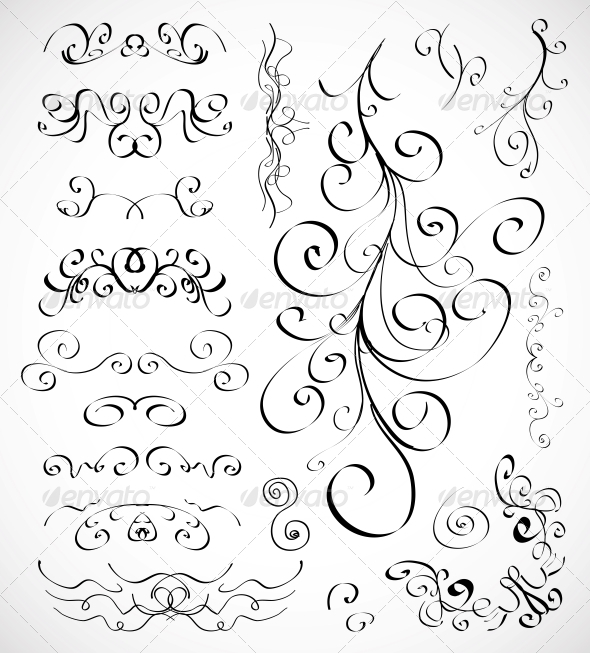 GraphicRiver Set of Calligraphic Design Elements 3593573