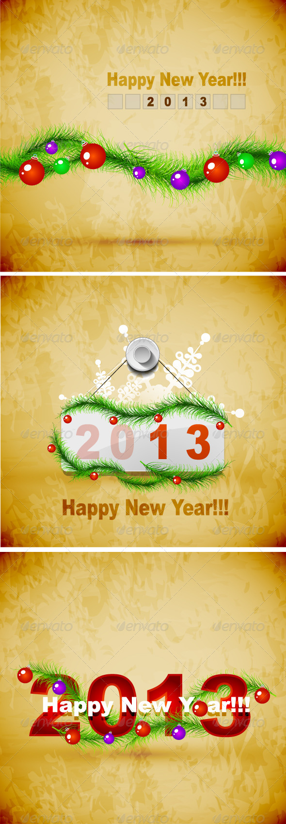 Vector Grunge New Year Backgrounds - New Year Seasons/Holidays