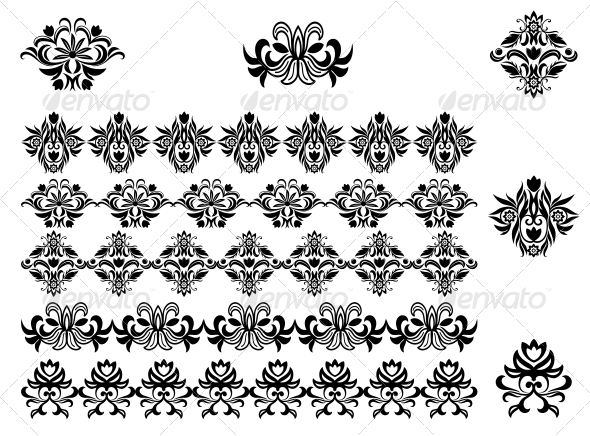 GraphicRiver Flower Patterns and Borders 3594990