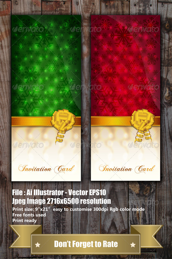 GraphicRiver Green and Red Invitation Cards 3597318