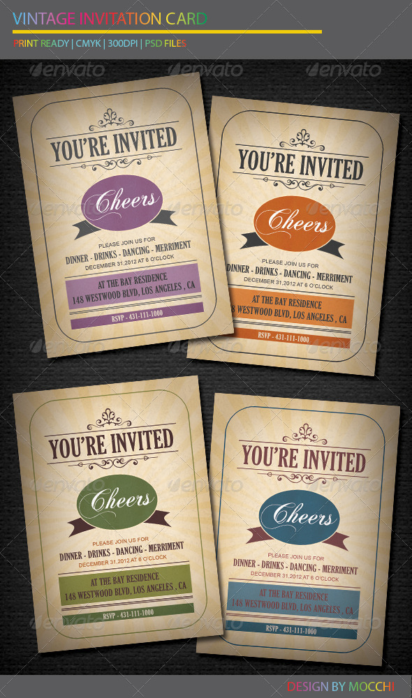 GraphicRiver Vintage Invitation Card 3597889