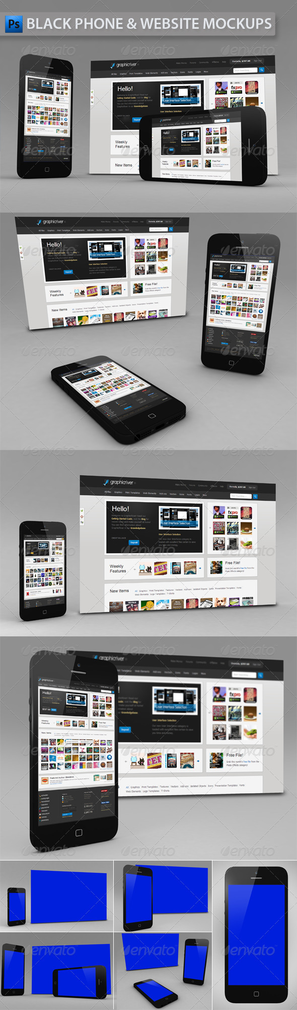 Black Phone and Website | App Mockup - Multiple Displays