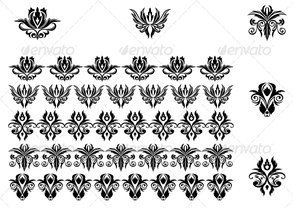 GraphicRiver Flower Patterns and Borders 3600446