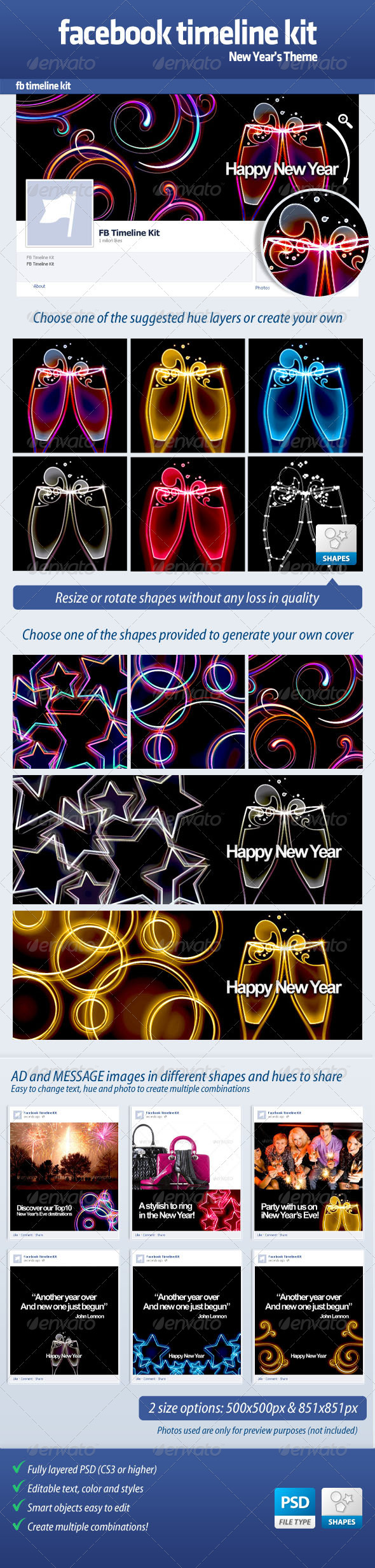 GraphicRiver FB Timeline Kit New Year 3600597