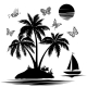 Silhouettes of Island with Palm, Ship, Butterflies - GraphicRiver Item for Sale