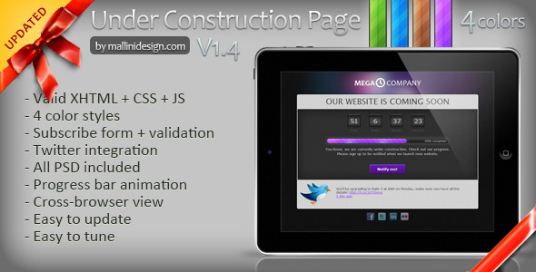 ThemeForest Under construction page Coming Soon template 149029