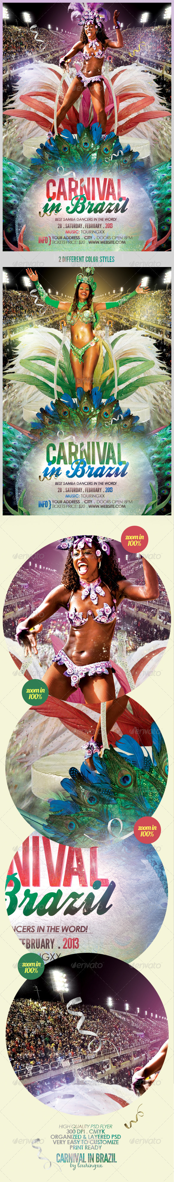 GraphicRiver Carnival In Brazil Flyer Template 3602325