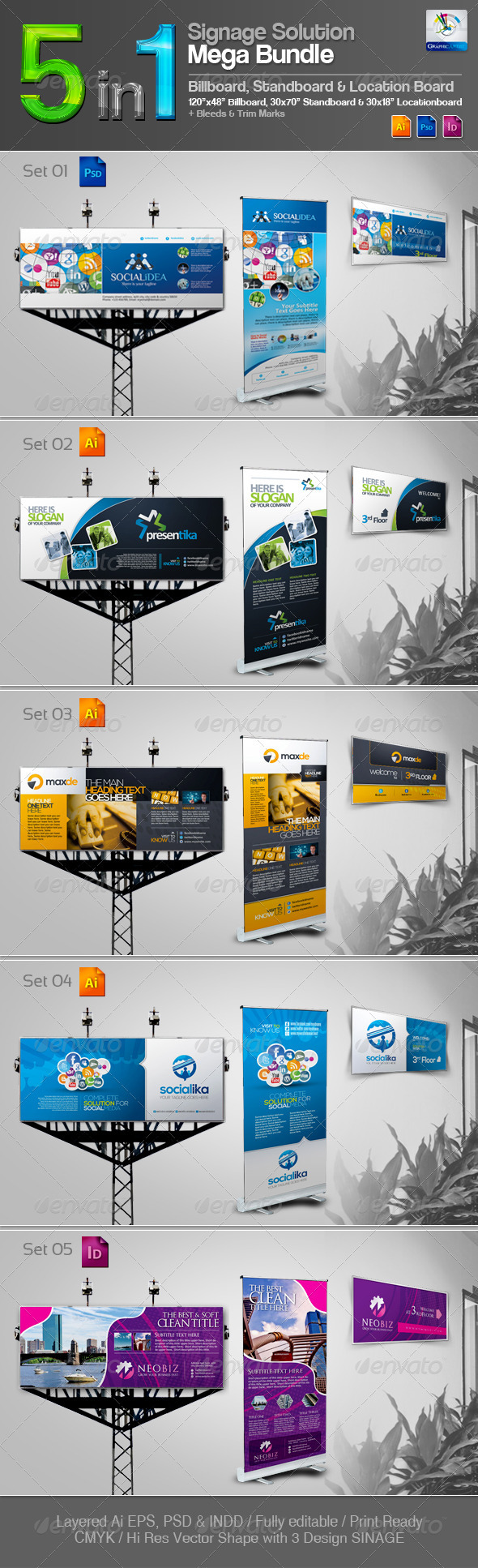 5 in 1 Signage Solution Mega Bundle - Signage Print Templates