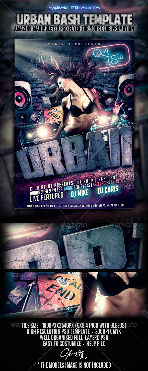 Urban Bash Flyer Template - Clubs & Parties Events