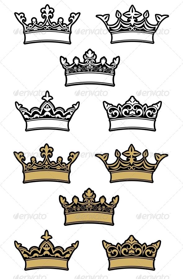 GraphicRiver Heraldic Crowns 3605760