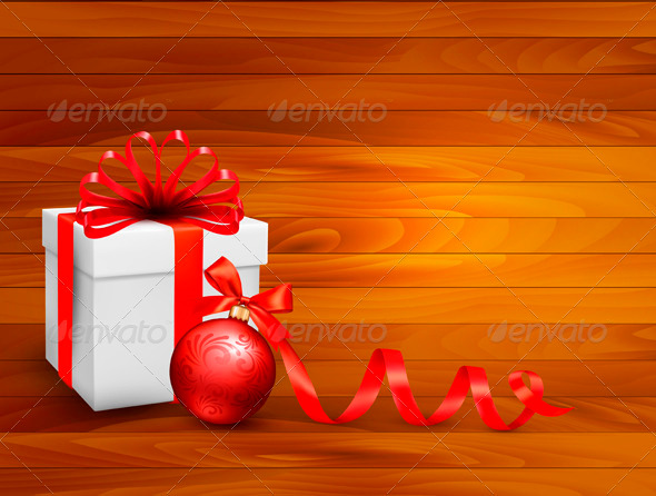GraphicRiver Holiday Background with Gift Box and Red Ball 3583133