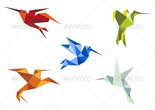 GraphicRiver Flying Color Origami Hummingbirds 3612067