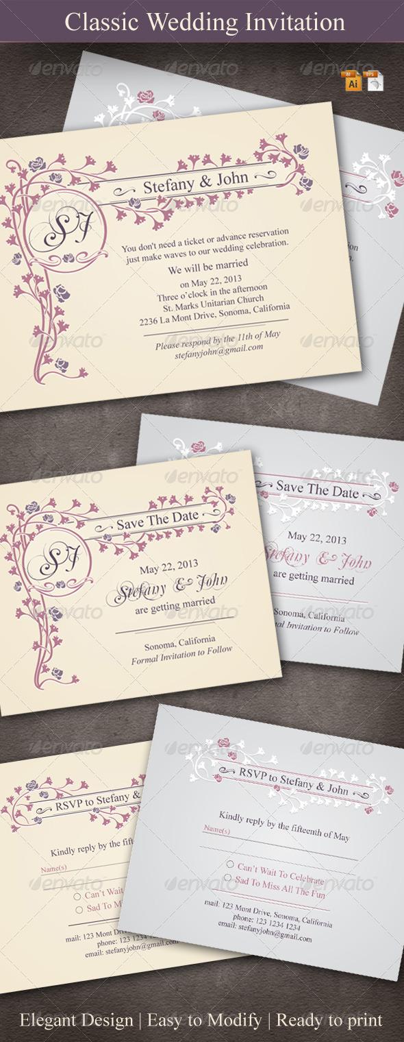 GraphicRiver Classic Wedding Invitation 3614277