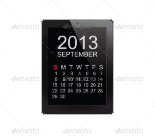 2013 Calendar Tablet on white - Stock Photo - Images